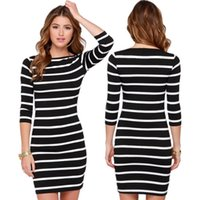 Bodycon Dresses black off the shoulder clothing - summer dresses for womens Fashion dress clothes white black Stripes Half Sleeve Knee Length Casual Off the Shoulder Pencil Dresses LYQ61 F