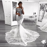Wholesale Retro Short Wedding Dresses - Retro Lace Mermaid Wedding Dresses Appliques Beads Tulle See Through Bridal Gowns Floor Length Short Sleeves Wedding Vestidos Custom Made