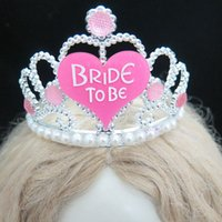 Wholesale Diamond Pearl Hair - Wholesale- Wedding accessories Bachelorette party tiara bride to be Hair accessories pearl diamond hen nights mariage events supplies