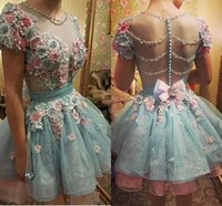 Wholesale Two Button T Shirt - Hot 3D Floral Flowers Light Sky Blue Homecoming Dresses With Beads Pearls Sweet 16 Short Sleeve Prom Gowns Formal Cocktail Dresses