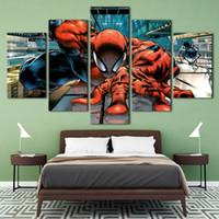 abstrakte wandpaneele großhandel-Spider man HD Leinwanddruck 5 Panel Wandkunst Stadt Ölgemälde Strukturierte Abstrakte Bilder Decor Wohnzimmer Dekoration