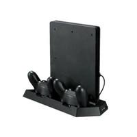playstation cooling al por mayor-Para Sony PS4 Pro PlayStation 4 Pro Console Soporte vertical Soporte para base PS4 Pro Ventilador con base de carga dual