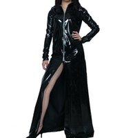 Wholesale Black Open Front Skirt - Cosplay Halloween Costumes Black patent leather PVC sexy Front open sexy skirt Halloween dresses