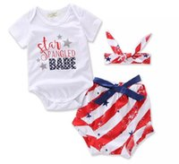 Wholesale Three Piece Set Romper - Baby's American Flag Clothing Sets Summer Romper+ Shorts + Headband Three Pieces Cute Fashion Suits Cotton Girls Clothes