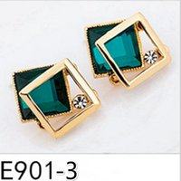 gem square dangler - 1 Pair Exquisite girl Fashion Accessories Personality Earrings Eardrop Dangler Anti allergy Short square Earrings ornament