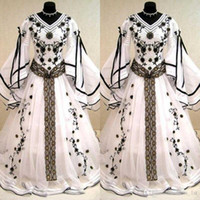 Wholesale Medieval Long Dresses - Medieval Vintage 2017 Black And White Long Sleeves Wedding Dresses Gothic V Neck Embroidery Applique Long Bridal Gowns Custom Made EN04241