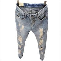 Wholesale Women Embroidery Jeans Wholesale - Wholesale- 2016 Hot Fashion Summer Women Denim Jeans Ripped Holes Harem jeans Pants Vintage Boyfriend Jeans For Women