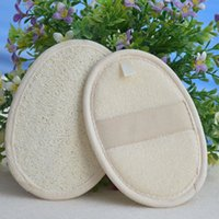 Wholesale Wholesale Bath Brushes Sponges - 2017 Natural Loofah Luffa Pad Body Skin Exfoliation Scrubber Bath Shower Spa Sponge bath accessories Clean Smooth Skin