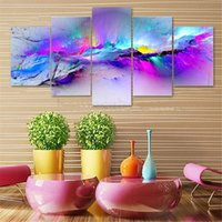 Wholesale Art Modern Oil Painting Purple - Framed 5 Panels set Purple Colors,genuine Hand Painted Modern Abstract Home Decor Wall Art Oil Painting Canvas.Multi size Free Shipping 023