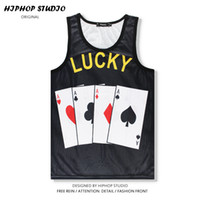 Wholesale Sexy Poker - Wholesale- Cool 3D Print Export LUCKY Creative A Poker Personality T-shirt Vest Summer Sleeveless Stringer Vest Bodybuilding Tank Tops