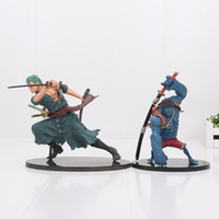 Wholesale figure japan - Japan Anime One Piece Roronoa Zoro Luffy PVC Action Figure Collectible Model Toy