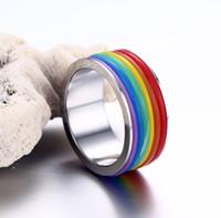 prens gelin yüzüğü toptan satış-Paslanmaz Çelik Gökkuşağı Yüzükler-Silikon Eşcinsel Lezbiyen Düğün Nişan Promise Band LGBT Pride Yüzük-Yüksek Cilalı