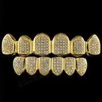 Wholesale Grill Fitting - New Men Custom Fit Gold Plated All Iced Out Luxury AAA Zircon Rhinestone Top & Bottom Gold Grillz Set Hop HIP teeth Gift