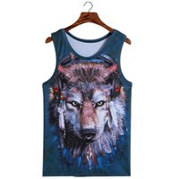Atacado- Bodybuilding 3d Wolf Vest Sem mangas Fashion Stereoscopic 3D Monkey Print Vest Simulation Animal T-shirt Sem mangas Tops de homem