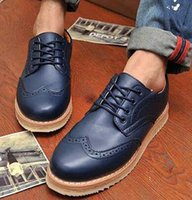 Wholesale Lace Up Oxford Platform Creepers - New Designer 2017 PLUS SIZE 38-46 Men's Leather Wingtips Shoes Business Dress Oxfords Shoes Platform Casual Italy Mens Creepers