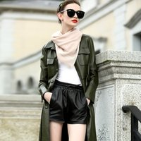 2017 New Winter Leather Pants Shorts Coreano Elastic Waist All-match Sheep Leather Strap Shorts