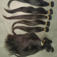 Wholesale Real Hair Extensions Virgin - Real Raw Virgin Brazilian Malaysian Indian Temple straight hairs 50g pc bundles 4pcs 5pcs brown Color Weave Soft Extensions