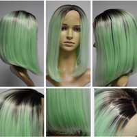 Wholesale Wholesale Deep Wave Wig - 10inches green None Lace Ombre Two Tone Synthetic Wigs High Temperature Fiber Short Straight Women Bob Wig