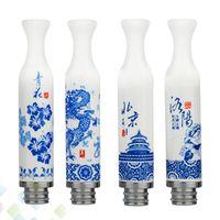 mavi beyaz çin toptan satış-Çin Damla İpuçları Seramik Damla İpuçları Mavi ve Beyaz Porselen Uzun Damla İpuçları Ağızlık Fit 510 E Sigara Atomlaştırıcılar DHL Ücretsiz