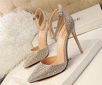 Sexy Glitter Pointed Toe Ankle Casual Chaussures Strap D'orsay Sandales chaussures Stietto Heels Party Soir Chaussures 2 Couleurs Or Argent