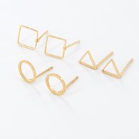 Wholesale Square Shape Studs - Wholesale Simple Round Triangle Square Shape Geometric Earrings Gold Silver Gold Plated Fashion Earring Jewelry For Women Gift EFE040