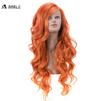 Wholesale Long Curly Weave - Rebecca Ombre Orange Synthetic Hair Wavy Long Body Wave Lace Front Curly Wigs With Hand-Woven Seam 26 Inch Noble Brand