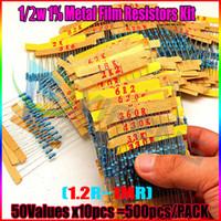 Wholesale 2w Resistor Kit - Wholesale- Best Promotion (1.2ohm-1M ohm)500Pcs 1 2W 0.5W 50 Values 1% Metal Film Resistors Assorted Kit