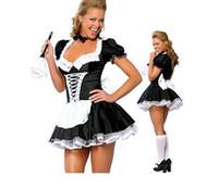 cadılar bayramı fransız fahişe kostümleri toptan satış-Toptan-Ücretsiz Kargo yeni moda Cadılar Bayramı Fransız Hizmetçi Vücut Şekillendirici Kostüm 3S1422 Seksi iç çamaşırı Fransız hizmetçi kostümleri