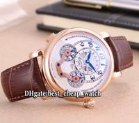 Wholesale Cheap Tourbillon Watch - Super Clone Brand Luxury Nicolas Rieussec Tourbillon 104981 105920 Autuomatic Skeleton Mens Watch Rose Gold Leather Strap Cheap New Watches