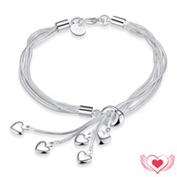 Wholesale Silver Snake Charm Chain - 2017 New Fashion 925 Silver Plated Heart Bracelets 20 cm Adjustable Snake Chain Wrap Charm Bracelet Love for Woman Drop Shipping