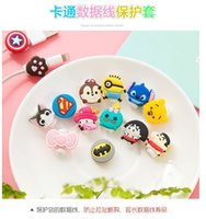Wholesale Iphone Minion Silicone - Cable Saver Cartoon Minions Silicone USB Charger Cable Earphone Wire Cord Protector For iPhone Plus iPad Samsung Phone Accessories 500pcs