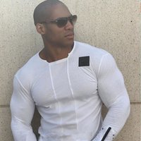 Wholesale Muscle Fit T Shirts - Wholesale free shippping Slim Fit t shirt Muscle Tops Leisure Bodybuilding Long Sleeve Fitness personality tees two colors size M-2XL