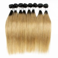 Wholesale human hair bob weaves online - Colored Peruvian Hair g Silky Straight T1B Blonde Ombre Hair Short Bob Style Straight Virgin Human Hair Weaves