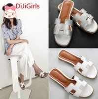 Wholesale Summer High Top Sandals - DiJiGirls High quality fashion Genuine Leather Female Slippers Luxury Sandals Women Black Colors Sandals Female Top Quality Bea