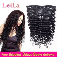 Wholesale full head clip curly hair resale online - Peruvian Virgin Hair Clip In Hair Extensions Deep Wave Curly Malaysian g Full Head Pieces One Set Hair Weft