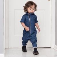 mavi pantolon takımları şortları toptan satış-Moda Yaz Romper Bebe Giysileri Bebek Mavi Denim için Jumpsuit Kız Çocukları için Bayanlar için Kısa Kollu İnce Gündelik Jeans