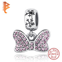 Wholesale Heart Knot Necklace - BELAWANG Wholesale 925 Sterling Silver Pink Crystal Bow Knot Heart Dangle Charm Fit Pandora Original Bracelet Necklace DIY Jewelry Making