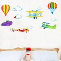 Wholesale Hot Air Balloon Nursery Decals - Wall Sticker Hot Air Balloon Plane Colorful Home Decorative For Kid Room Nursery School Decor Non Toxic And Tasteless 3 8sj F R