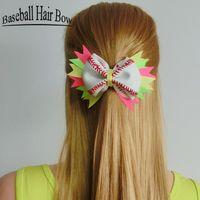 Wholesale Handmade Hair Holder - 2017 Softball Team Baseball Cheer Bows Handmade Yellow Ribbon and Red Stiches with Ponytail Hair Holders for Cheerleading Girls