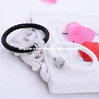 Wholesale Top Handmade Bracelets For Women - 1 Colors Wholesale TOP Quality PU Leather Bracelets For Women Handmade Shamballa Bracelet With Magnetic Clasp