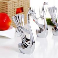 Wholesale Stainless Steel Kitchen Cutlery - Kitchen Restaurant Elegant Swan Flatwares Base For Dinnerware Cafe Spoon Fork Knife Cygnus Foundation Pedestal Tableware Cutlery