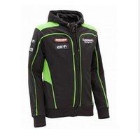 Wholesale Racing Jacket Coat - 2015 Brand New Men's Clothing 100% Cotton Kawasaki Racing Team Hoodies MotoGP Sweatshirts Motorcycle Casual Winter Sports Coats