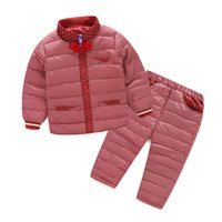 Wholesale Padded Pants Kids - WEONEWORLD Children Clothing Sets 2016 New White Duck Down Padded Jacket+Pants Girls And Boys Winter Kids Clothes Free Shipping