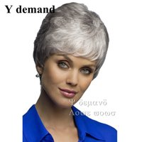 Wholesale Wigs Modern - Fashion Fluffy Cosplay Wigs White Short Heat Resistant African American Straight Synthetic Wig Modern Cheap Wigs
