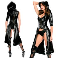 Wholesale Erotic Leather Spandex Costumes - Wholesale- Women Sexy Nightclub Punk Gothic Jumpsuit Fetish Dance Faux Latex Catsuit Erotic hooded Leather Bodysuit Fancy DS Costume
