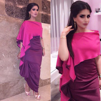 Wholesale Ivory Satin Stretch Dress - Abendkleider 2017 Fuchsia Arabic Women Evening Dress Plus Size Long Prom Dresses Stretch Satin Middle East Party Gowns Dubai Kaftan Abaya