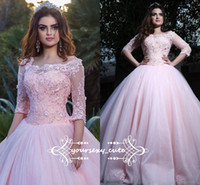Wholesale Prom Sweet Sixteen Dresses - 2018 Newest Pink Ball Gown Quinceanera Dresses Off Shoulder Half Sleeves Lace Tulle Ball Gown Prom Dresses Cute Sweet Sixteen Dresses
