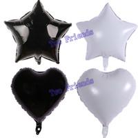 şişme süslemeler yıldızlar toptan satış-Beyaz siyah yıldız kalp folyo balonlar topu 40 adet 18 inç doğum günü partisi süslemeleri cadılar bayramı bebek duş helyum şişme Globos