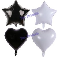 Wholesale inflatables stars decorations - White black star heart foil balloons ball 40pcs 18inch birthday party decorations halloween baby shower helium inflatable Globos