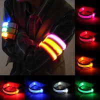 envoltura de cinturón reflectante al por mayor-Bandas de brazo de LED Bandas de seguridad para la pierna Bandas de seguridad para ciclismo / patinaje / fiesta / tiro 7 colores envío gratis